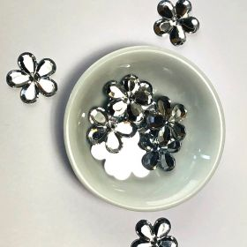 Acrylic / flat back / flower / embellishment / silver / 20x2mm / ~6g