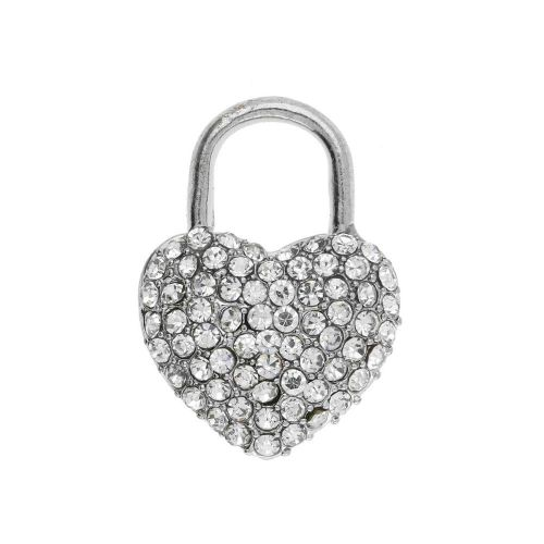 Glamm ™ Heart / charm pendant / with zircons / 23x16.5x6mm / silver plated / 1pcs