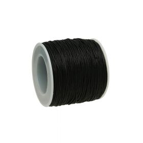 Waxed cord / black / 1.0mm / 72m