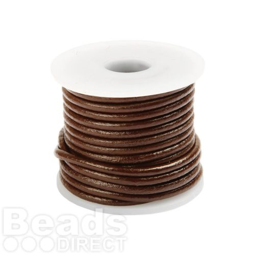 Brown Round Leather 2mm Cord 5metre Reel