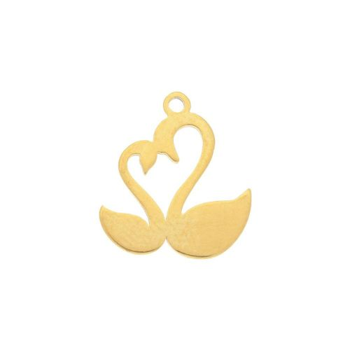 Swans / charm / surgical steel / 13x11mm / gold / 2pcs