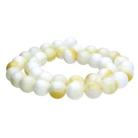 Seashell / round / 12mm / white-yellow / 30pcs