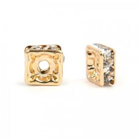 Gold Plated Squaradelle 8mm Spacer with Crystal Pack20