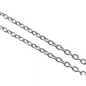 Cable chain / surgical steel / 2x1.5mm / silver / thickness 0.4mm / 1m
