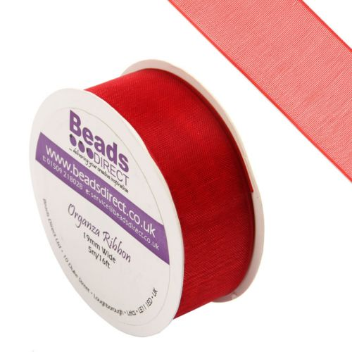 """""""X"""" Red Organza Ribbon 19mm Sold on a 5 Metre Reel"""