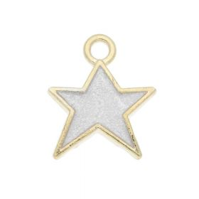 SweetCharm ™ Christmas star / charms pendant / 14x12x2mm / white / gold plated / 2 pcs