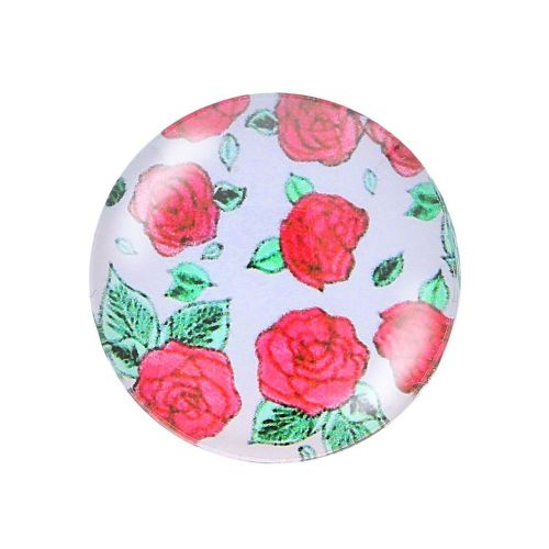 Glass cabochon with graphics K20 PT1309 / white-red / 20mm / 2pcs