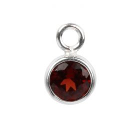 Sterling Silver 925 Red Cubic Zirconia July Birthstone Charm 5mm Pk1