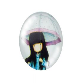 Glass cabochon with graphics oval 13x18mm PT1161 / cyan / 2pcs