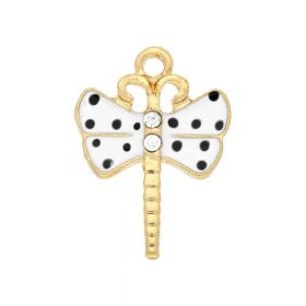 SweetCharm ™ Dragonfly / charm pendant / 2 zircons / 21.5x16x2.5mm / gold plated / white / 2pcs