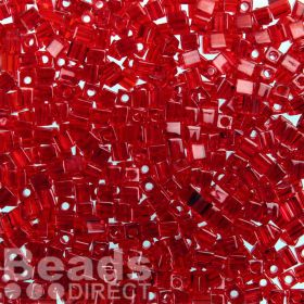 Miyuki Cube Beads 4mm Transparent Red 10g