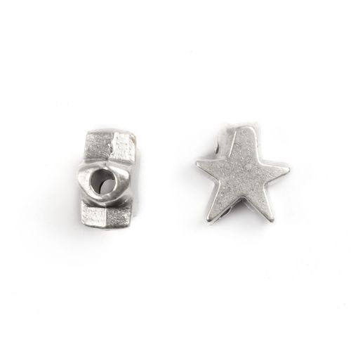 """X"" Antique Silver Star Bead Charm 10mm Pk2"