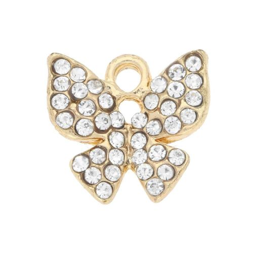Glamm ™ Butterfly / charm pendant / with zircons / 13x14x2.5mm / gold plated / Crystal / 1pcs