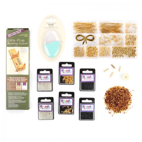 X-Beads Direct Gold Little Ricky Loom Starter Kit