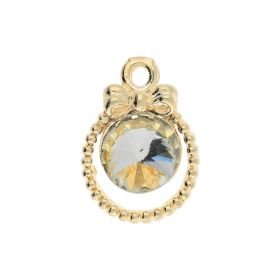 Glamm ™ Spotlight with a bow / charm pendant / with zircons / 16x11x4.5mm / gold plated / Light Silk / 1pcs