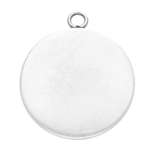 Pendant / round cabochon base 16mm / surgical steel / 21x18mm / silver / 2pcs