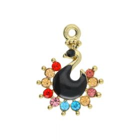 Glamm ™ Peacock / pendant charms / with cubic zirconia / 22x16x3.5mm / gold plated / black / multicoloured / 1pcs