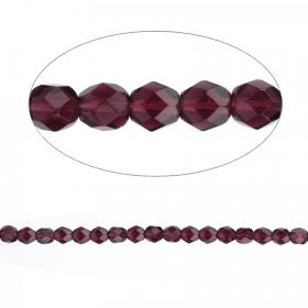 Czech Fire Polished Glass Round Beads Dark Amethyst 6mm Pk100