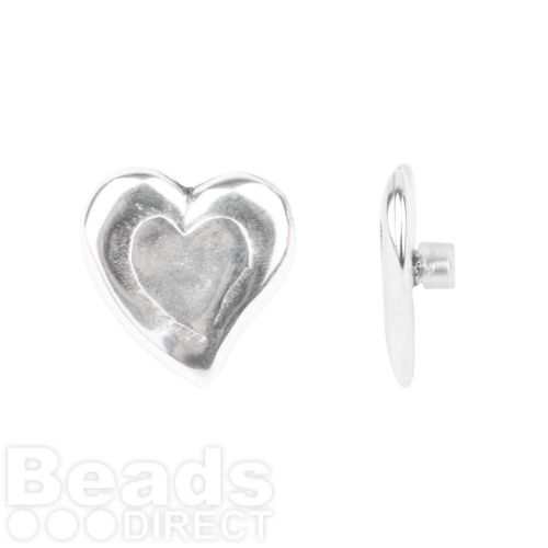Antique Silver Heart Pin Charm for Bangle with Stopper 24mm Pk1