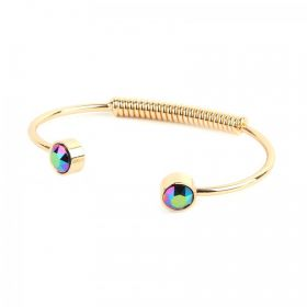 Gold Plated Crystal Scarab Green Bangle Made with Swarovski