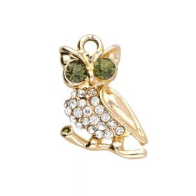 Glamm ™ Owl / charm pendant / with zircons / 22x14x4mm / goldplated / 1pcs