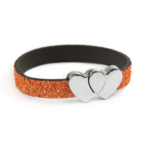 Glitter Ice Orange Heart Bracelet