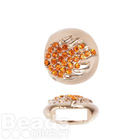 Rose Gold Plated Slider Charm Bead Orange Crystal Flame 12mm Pk1