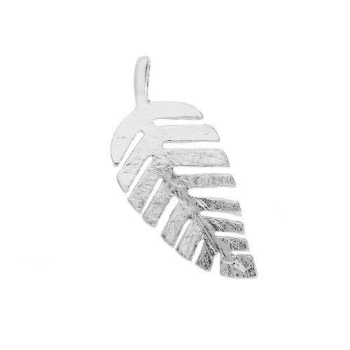 Glamm ™ Leaf  / charm pendant / with zircons / 36x16x5mm / silver plated / crystal / 1pcs