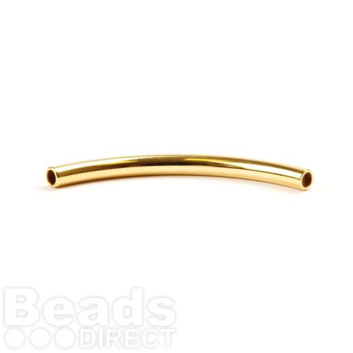 Gold Plated Curved Tube Bead 50x4mm Internal 3mm Pk1