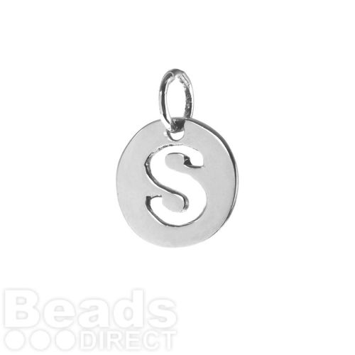 Sterling Silver 925 'S' Letter Cut Out Charm 11mm Pk1