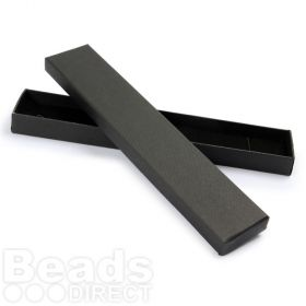 Black Long Rectangle Jewellery Box 4x21x2cm with Foam Pad Pk1