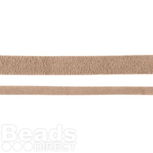 Beige Flat Real Suede Cord 5mm 2metres