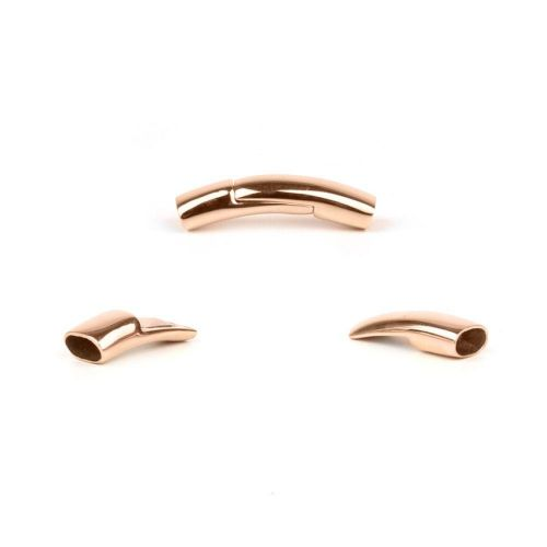 Rose Gold Plated Stainless Steel Magnetic Flat Curved Clasp 6x3.5mm Pk1