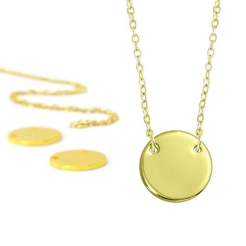 ImpressArt Personal Impressions Gold Plated Circle Connector Necklaces Pk5