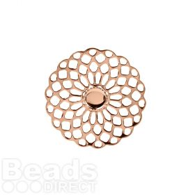Rose Gold Plated Filigree Flower Holds SS20 25mm Pk1