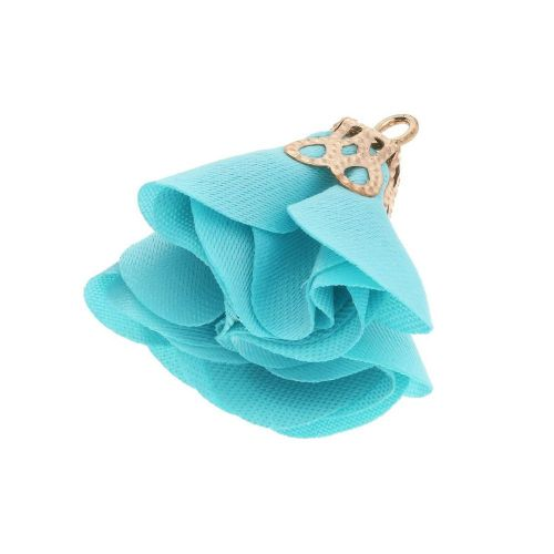 Satin Flower / with an openwork tip / 26mm / Gold Plated / cyan / 2 pcs