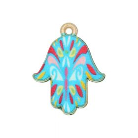 SweetCharm ™ Fatima Hand Hamsa / charms pendant / 23x18x1.5mm / gold plated / multicolour / 2pcs