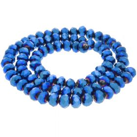 CrystaLove™ crystals / glass / rondelle / 3x4mm / dark blue / lustered / 147pcs