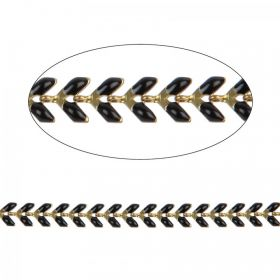 Black Enamelled Gold Plated Laurel Leaf Chain 6mm 20cm Length