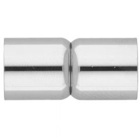 Magnetic clasp / surgical steel / dumbbells / 19x7x7mm / silver / hole 6mm / 1pcs