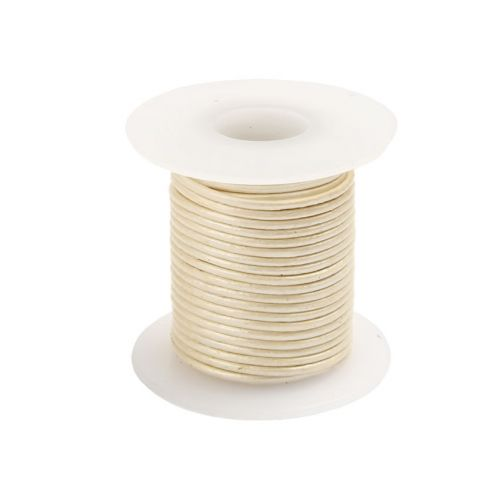 Pearl Round Leather Cord 1mm 5Metre Reel