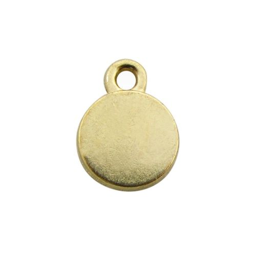 SweetCharm ™ Disc / pendant / 11x8mm / gold plated / pink / hole 1mm / 4pcs