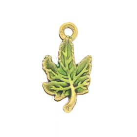 FancyCharm™ / leaf / charm pendant / 11x20mm / gold plated / 2pcs