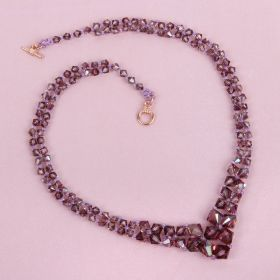 Beads Direct Lilac Graduated Bicone Necklace Kit made with Swarovski  Makes x1