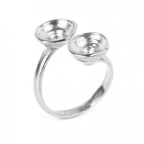 Antique Silver Plated Zamak Ring Base Adjustable holds 2x SS39 Chatons Pk1