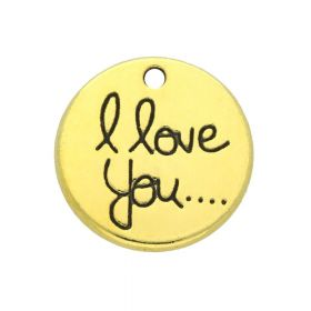 I love you / charm pendant / 19x19x2.5mm / gold / 2pcs