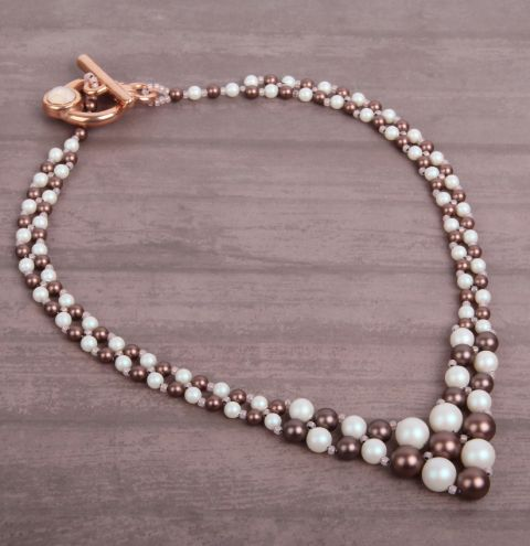 Velvet Brown Graduated Pearl Necklace