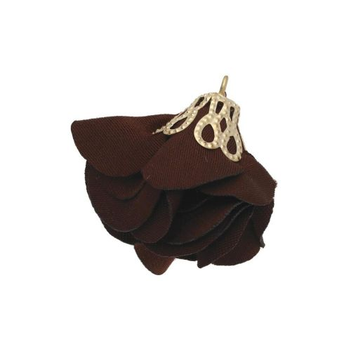 Satin Flower / with an openwork tip / 26mm / Gold Plated / brown / 2 pcs