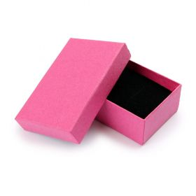 Pink Small Rectangle Jewellery Box 8x5x2.5cm with Foam Pad Pk1