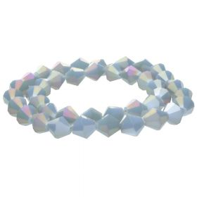CrystaLove™ crystals / glass / bicone / 6mm / grey / iridescent / 48pcs